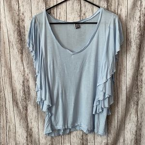 roxy ruffle sleeve blue tee